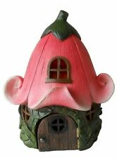 Fairy Garden-House with Pink Lily Flower Roof