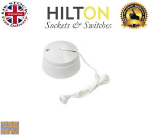 HILTON Ceiling Light Pull Switch White Plastic 1Way 10Amp ***Best Quality***