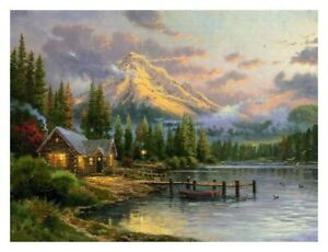 UnFramed Canvas Print Home decor wall Thomas kinkade lakeside hideaway24X36