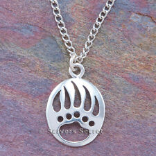 925 sterling silver BEAR PAW CLAW Native American Indian Charm Pendant Necklace