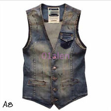 Retro Mens Denim Washed Jean Sleeveless V-Neck Vest Waistcoat Jacket Top US L