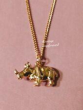 Rhino Golden Pendant Vintage 1980s Avon Necklace Wildlife Rhinoceros Horn