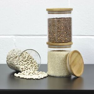 3pcs Borosilicate Glass Containers Coffee Tea Sugar Canister Jars Airtight Lid