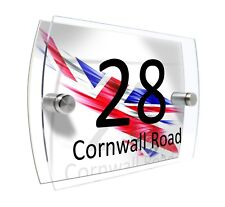 England Flag House Number Sign Plaque Glass Effect Acrylic Door Wall #D70
