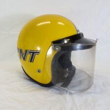 Vintage 1972 Skidoo Bombardier Snowmobile Yellow Open Face Helmet w Visor Shield