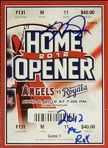 Mike Trout 2012 AL ROY signed Angels 2012 Home Opener ticket PSA Encapsulated #1