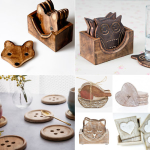 Wooden Coasters Wooden Owl Fox In Box Holder Coffee Tea Drinks Chic Shabby