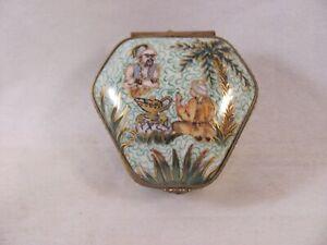 Antique Vintage Limoges France Peint Main Trinket Box Genie Lamp Aladdin 2 in