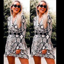 Women Snake Print Long Sleeve Dress Party Ruffle Frill Skater Wrap Shirt Top UK