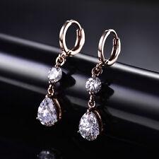 HUCHE Retro Luxury Rose Gold Filled Dangle Pear Diamond Drop Women Daily Earring