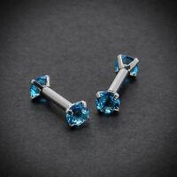 1Pair CZ Gem Steel 16G Barbell Ear Cartilage Tragus Helix Stud Body Piercing
