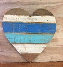 Cœur bleu en bois vieilli Boardwalk Coastal Wall Art 6250