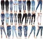 UK WOMEN HIGH WAIST SKINNY JEANS RIPPED DISTRESSED CELEB LADIES JEGGIN KNEE 6-24