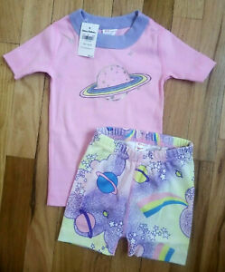 NWT HANNA ANDERSSON PINK SPARKLY RAINBOW SPACE PLANET SHORT JOHN PAJAMAS 80/85 2