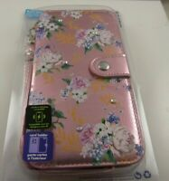 fits iPhone 6 plus, 7 & 8 + plus phone case rose flower wallet wristlet type