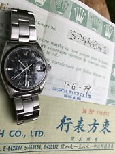 ALL ORIGINAL Rolex Oysterdate 6694 Black Matte Dial Mens Watch w/ Sales Papers!