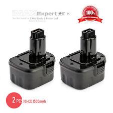 2 x NEW 12V Ni-Cad Battery for DEWALT 152250-27 397745-01 12 Volt Cordless Drill