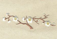 Iron On Patch Embroidered Applique WHITE Flowers Cherry Blossom Brown Stem LARGE
