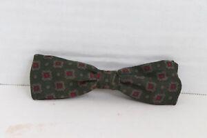 Vintage 80s Royal Silk Classy Dress Bowtie Tie Clip On Rust Resistant Green