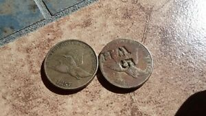 2 FLYING EAGLE CENTS FROM 1857 AND 1858 ONE COUNTER-STAMPED-BOTH HAVE ISSUES!