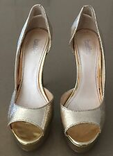 Gorgeous BETTS Gold Pleather Faux Snakeskin Open Toe Stiletto Pumps Size 37