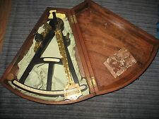 ANTIQUE 1800'S  STALKER * LEITH SCOTTISH SEXTANT W/WOODEN FAN SHAPE CASE