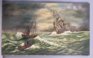 19thC Antique VICTORIAN Era SHIPWRECK Old SINKING Clipper SHIP SEASCAPE PAINTING