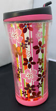 Starbucks 2007 Coffee Travel Cup Tumbler Lid Foil Pink Gold Flowers 8 OZ