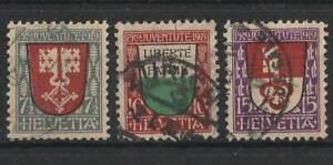 1919 Schweiz (KG2869), Serie Pro Juventute ANK.161-163 gestempelt