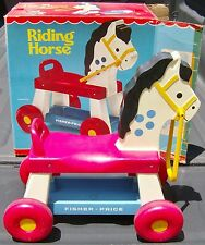 NICE VINTAGE 1977 FISHER PRICE RIDE ON RIDING HORSE WITH ORIGINAL BOX