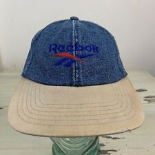 REEBOK: Vtg 90s Blue Denim Jean Low Profile Ocean Spray Strapback Adjustable Cap