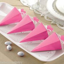 50 Elegante Rosa Brillante Fidanzamento Matrimonio Regalo Festa favore Piramide Cono Scatole
