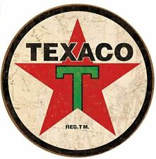 Texaco Gas And Oil Round Tin Sign Rustic Metal Gas Station Wall Art