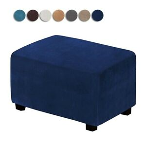 Ottoman Footrest Slipcover Stretch Velvet Rectangle Footstool Covers Protectors