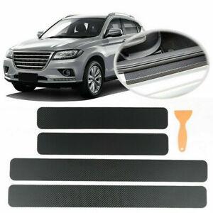 3D Carbon Fibre Car Door Sill Scuff Protector Plate Sticker Cover Tool+Scraper