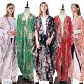 MuslimWomen Floral Long Cardigan Kimono Open Front Abaya Maxi Dress Abaya Kaftan