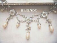 With TAG SIGNED MONET VINTAGE MOTHER OF PEARL F PEARL OPEN BACK CRYSTAL NECKLACE