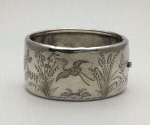 Victorian 1878 Silver Aesthetic Japanese Crane Dragonfly Design Hinged Bangle