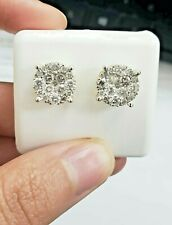 Real 10k Yellow Gold Round Cuts VS1 1.50 CT Genuine Diamond Stud Earring Men's