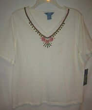 "Napa Valley cream cotton w coral-lime-tan neckline beads s.s. top  PL 42"" NWT"