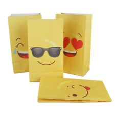12ps Emoji Paper Bags Emoji Party Favors Bags Yellow Birthday Gift for Kids Bags