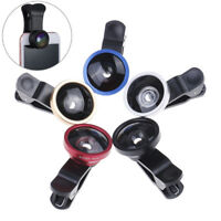 3 In1 Fish Eye Wide Angle Macro Camera Clip-On Lens For Universal Mobile Phone T
