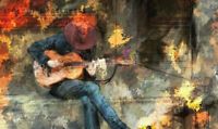 ZWPT458 hand-painted fancy play the guitar man art oil painting on canvas