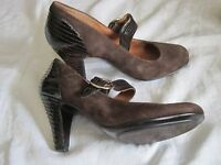 SOFFT Womens Brown Suede/Patent Leather Buckle Mary Jane Heels Shoes Size 8.5 M
