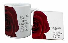 Red Rose 'Nan Love Sentiment' Mug+Coaster Christmas/Birthday Gift Idea, GRA-R6MC