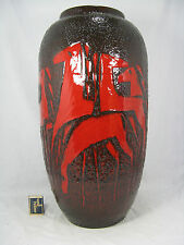 """Cool 70´s design Scheurich Fat Lava Keramik pottery vase  """" horses """" 546 - 52 cm"""