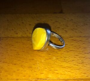 silver & egg yolk amber ring  Size M1/2 to N