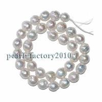 "Baroque 18"" 15-12mm natural south sea white genuine pearl necklace Silver"