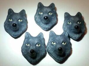 Peruvian Ceramic Black Wolf Face Animal Lot of 10 Focal Beads Bulk DIY Charm