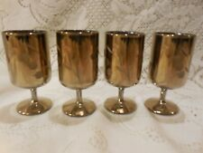 """Set of 4 gold-plated 3.5"""" footed Cordials - Grape & Leaf Motif"""